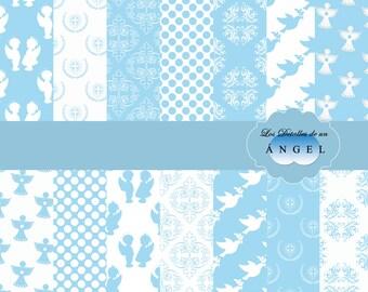 Celestial Digital Paper Kit for christening/kit Celeste Digitalis papers for christening