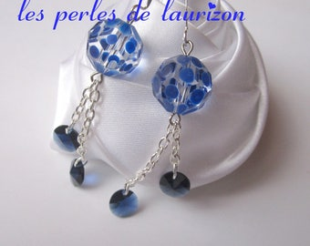Earrings small round blue rain