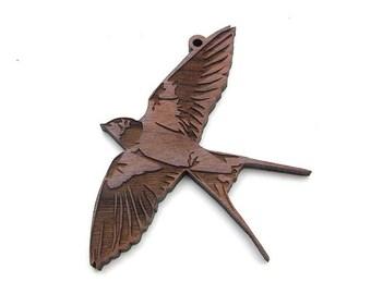 Barn Swallow Ornament - Elegant Barn Swallow In Flight Wood Ornament