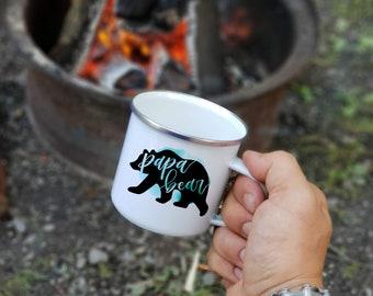 Enamel Camp Mug Papa Bear - Tin Camping Mug - Camping Accessories - Fast Ship