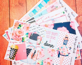 Too glam to give a damn kit- weekly kit- Erin Condren Life Planner Vertical Layout - 6 pages