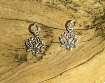 Lotus Charm - Sterling Silver - 9mm - Small Lotus - Sold Per Piece
