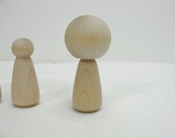 Kokeshi doll, kokeshi style doll, wooden kokeshi doll set of 6