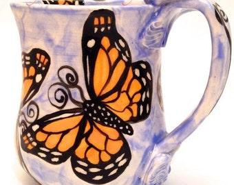 Handmade Stoneware Butterflies Mug Monarchs on Blue Made to Order MG0032