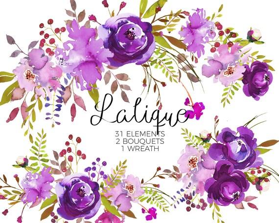 purple watercolor flowers clipart set wedding floral bouquets rh etsy com purple flower clipart png purple flower clipart images