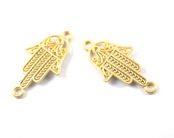 2pcs Matte Gold Plated Base Hand of Hamsa Connector - 50x20mm-(020-029GP)