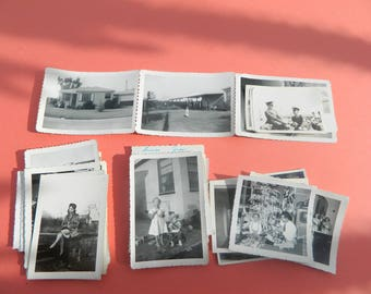 Lot Of 50 Vintage Black White Snapshots Photographs: Portraits People Land City 1930s - 1950s - #19