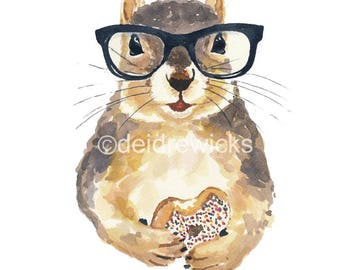 Watercolor PRINT - Nerdy Squirrel Painting, Sprinkle Donut, Hipster Glasses, Food Art, Nursery Decor