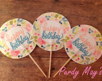 Happy Birthday Cupcake Toppers, Floral Birthday Toppers, Flower Cupcake Toppers, Happy Birthday Cupcake Picks, Bohemian Cupcake Toppers