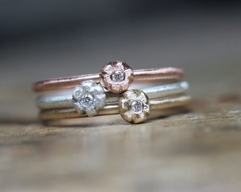 Cute Flower Diamond Stacking Rings Silver or 14K Yellow, White, Rose Gold Delicate Floral Boho Delicate Stackable Boho Gift - Dainty Diamond