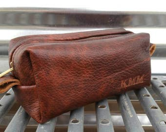 Durango Leather Shaving Bag/ Handmade Shave Bag /Father's Day Gift/ Wedding/ Groomsman Gift/ Dopp Kit/ Mens Gift