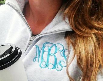 Monogram Pullover | Personalized Quarter Zip Sweatshirt | Monogrammed College Classic Popover | Multiple Colors | Gift Under 30 Dollars