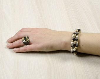 Bracelet CANTA white / grey / Beige / Chrome - jewelry / Tagua / vegetable ivory / natural / ethical / fair trade / woman / Ecuador