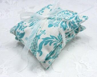 Lavender Drawer or Dryer Sachets in Teal Cotton Damask - Set of 2