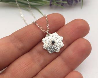 Fine Silver Mandala Necklace set with London Blue Topaz