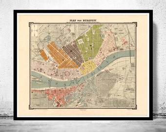 Old Map of Budapest Hungary 1882
