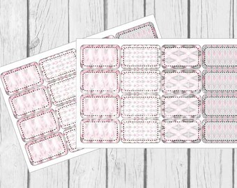 Pink Tribal Planner Stickers Half Boxes set of 8 PS418f