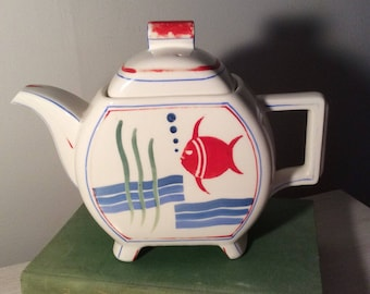 Antique Fish Teapot Japan Carafe Pitcher inspired patterns,charming,tabletop,tableware,serving,fish,tea,potHand painted, Patent applied,