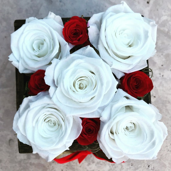 Red and white rose flower arrangement scientifically red and white rose flower arrangement scientifically preserved to look fresh all year handmade custom design zero upkeep mightylinksfo Image collections