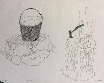 """Fireside Bucket - sketch, original.  by D Messenger.  About 7 x 5"""""""