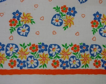 """Vintage Full Feedsack Novelty Large 37 x 44"""" Border Print, Hearts,Flowers, Bright and Excellent"""