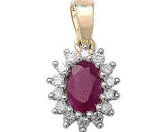 RUBY Diamond July Birthstone Oval Pendant 6X4