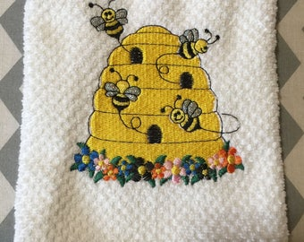 Bee Skep Embroidered Kitchen Tea Towel