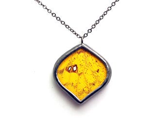 Yellow Aspen Leaf Real Butterfly Wing Necklace
