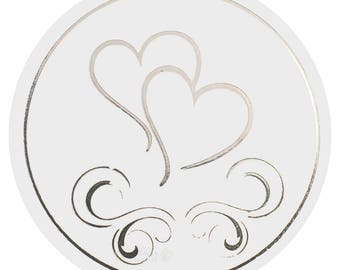 50x Silver Heart Envelope Stickers Seals Wedding Invitations Stationery Supplies