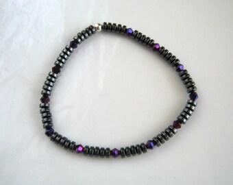 Purple Crystal Magnetic Hematite Stretch Bracelet Gunmetal Bracelet Gray Bracelet