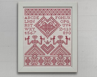 My Norwegian Valentine - An Alphabet Sampler - Instant Download PDF booklet
