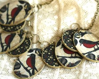 Red Flower Bird Necklace - Red Bird - Bird Necklace - Charm Necklace - Red Jewelry - Bird Jewelry - Red - Shrink Plastic - Birds