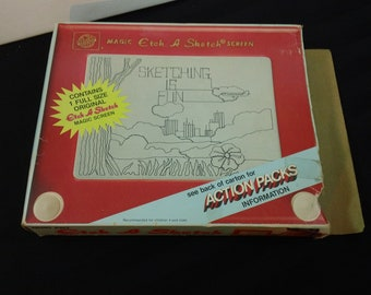 Vintage 80s Ohio Art No.505T Magic Etch A Sketch Screen Drawing Toy with Box