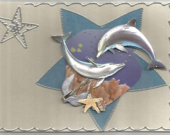 Animals, 3d card, handmade, animal category: dolphins - birthday, cetaceans dolphins, Orcas, sperm whale, whale, porpoise.
