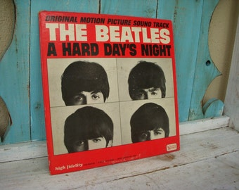 A Hard Days Night Vintage Vinyl LP The Beatles 1964 Mid Century Music Rock and Roll Long Hair Hippie Bands Rock British Band 60s Records