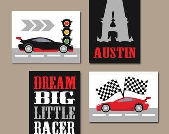 RACE CAR Wall Art, Big Boy Room Decor, CANVAS or Prints, Cars Boy Nursery Decor, Transportation Theme, Dream Big Little Racer Set of 4