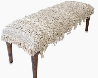Moroccan Wedding Blanket Upholstered Bench - Ivory and Black Cotton with Fringe Detail