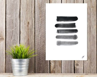 Brush Strokes, ORIGINAL Painting, Black and White Art, Simple Painting, Small Abstract Painting, Minimalist Art, Stripe Art, Abstract Art