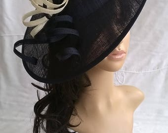 Navy Blue with ivory Feather Fascinator..Stunning Sinamay Fascinator on a Headband..