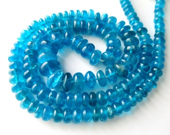 Neon Apatite smooth rondelle- 3-7mm- 7 inch