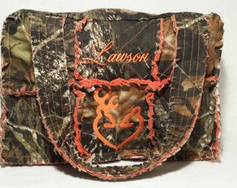 Mossy Oak orange camo diaper bag 15 wide x 10 tall x 5 deep,  orange camo diaper bag, personalized camo diaper bag, camo diaper bag