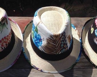 Hawaiian Floral Fedora Hat. Perfect For Both Female & Male. Choose Your Color.