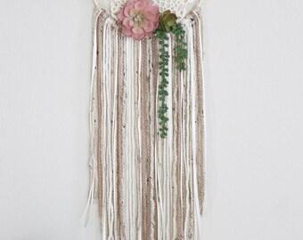 "Succulent Dreamcatcher, Chic Dream Catcher Wall Hanging - 10"" hoop"