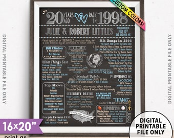 """20th Anniversary Gift, Married in 1998 Anniversary Poster, Flashback to 1998 Flashback 20 Years, Chalkboard Style PRINTABLE 8x10/16x20"""" Sign"""