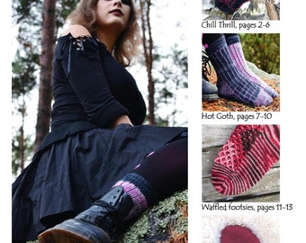 Hot Socks - a collection of four warm and extra warm sock patterns by Anita Grahn, sizes Ladies XS, S, M and L, interesting sock patterns