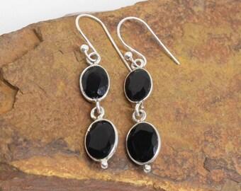 Black Onyx Earrings, 925 Silver Earrings, Sterling Silver, Oval Gemstone Earrings, Simple Earrings, Daily Wear Earrings