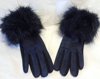 Faux Suede Gloves with Faux Fur Cuff
