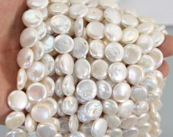 White 13-15mm coin pearl ,buttone pearl ,Con ,culturel pearl ,gunuine pearl beads full strand 15.5-16inch -LPS0015