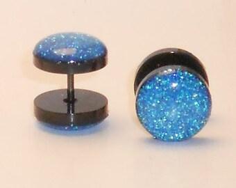 Cinderella Blue Glitter Fake Plugs