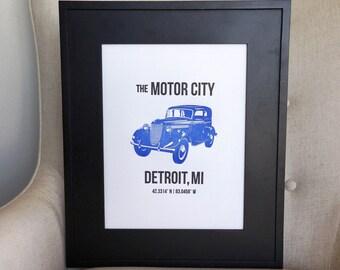 "10"" x 13"" Detroit Letterpress Wall Art"